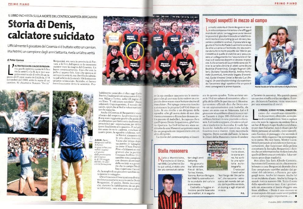 Storia di Denis, calciatore suicidato – da 'L'Espresso' – 04/10/01