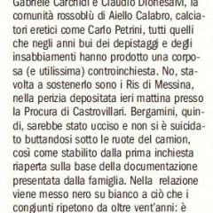 La perizia: non fu suicidio, Bergamini è stato ucciso. – da 'Il Manifesto' – 23/02/12